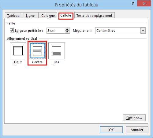Aligner du texte verticalement dans une cellule avec word for Dans word