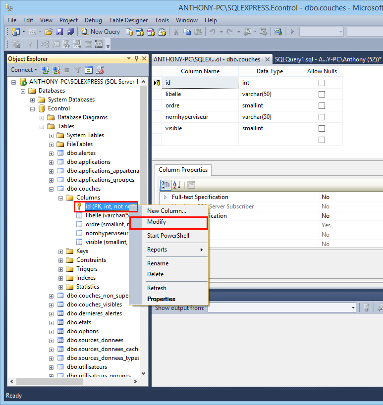 Cr er un champ auto incr ment avec sql server - Alter table change data type sql server ...