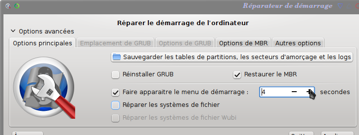 Choix des options de restauration