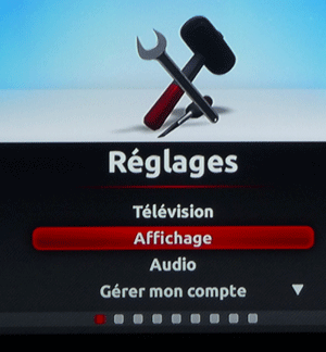 Configuration de l'affichage du Freebox Player