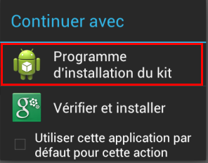 Programme d'installation du kit