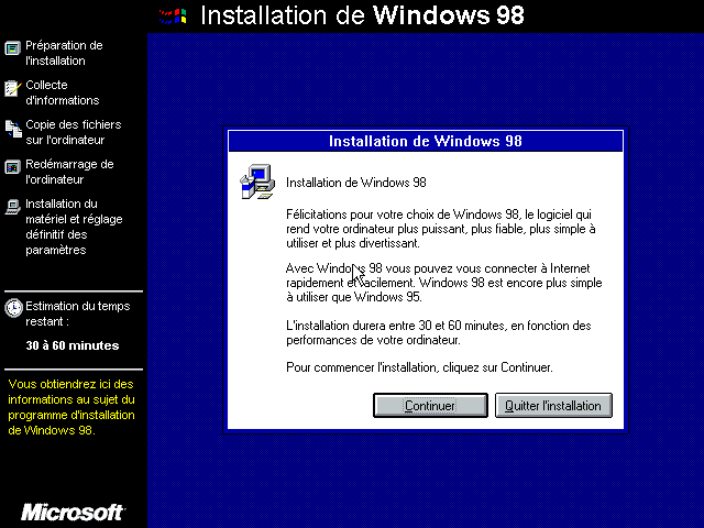 Installation de Windows 98 - assistant graphique