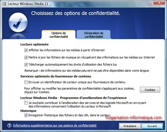 Options de confidentialit�