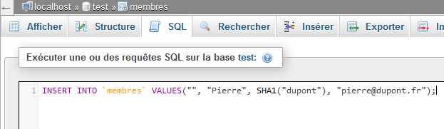 Onglet SQL - insertion