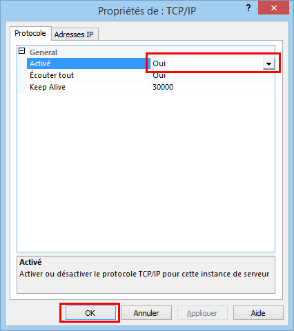 Activation du protocole TCP-IP