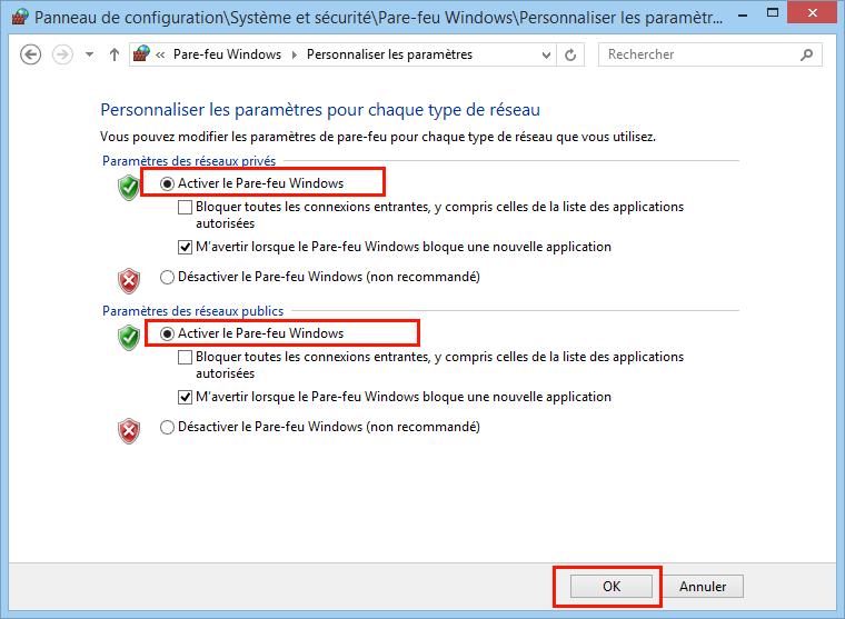 Activer le pare-feu Windows