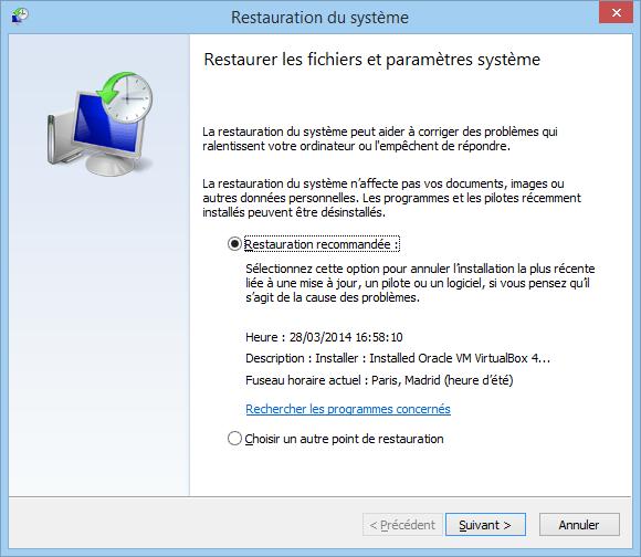 Restaurer Windows  A Une Date