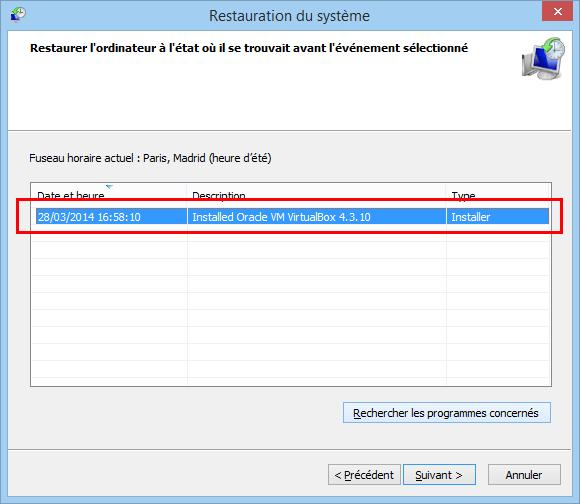 Windows  Restauration Date Anterieur