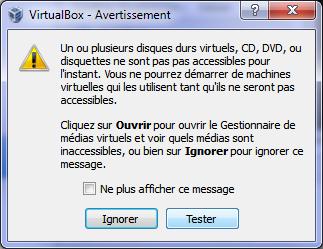 Un ou plusieurs disques durs virtuels ne sont pas accessibles pour l'instant