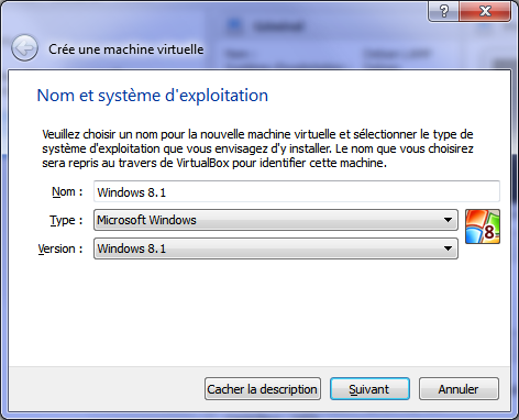 Création d'une machine virtuelle Windows 8.1