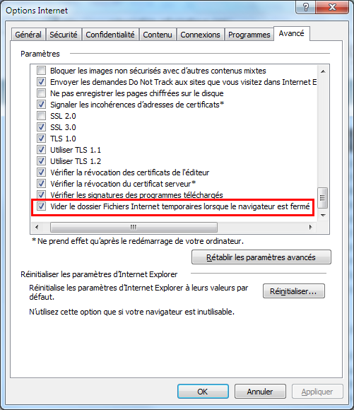 Options internet Explorer 10 et 11