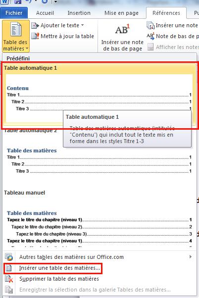 Cr er une table des mati res avec word - Comment placer les verres sur une table ...