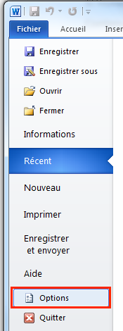 Options de Word