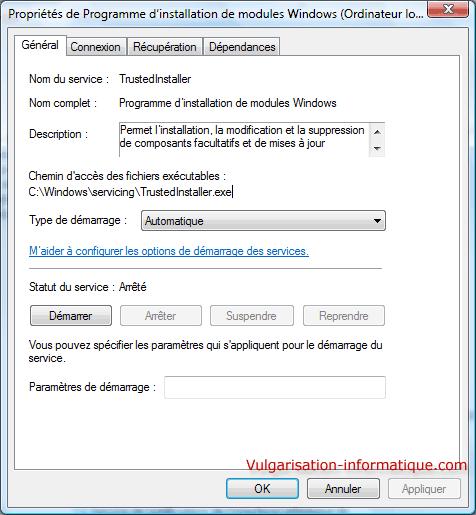 Windows installer composant vous essayez
