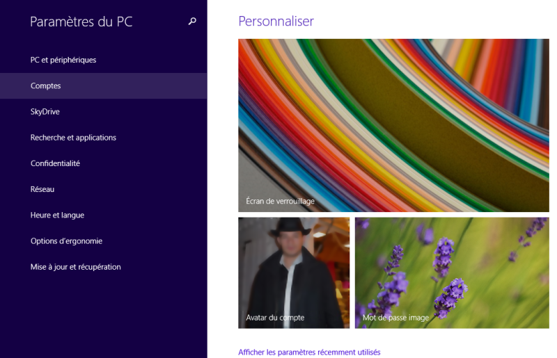 Liste des comptes Windows 8.1