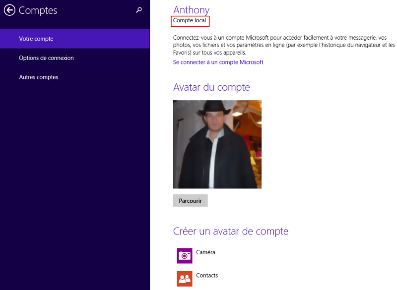 Compte local Windows 8.1