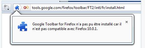 Google toolbar n'a pas pu être installée